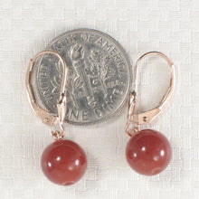 Load image into Gallery viewer, 14k Rose Solid Gold Leverback 8-8.5mm Carnelian Bead Dangle Earrings