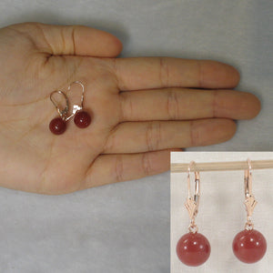 14k Rose Solid Gold Leverback 8-8.5mm Carnelian Bead Dangle Earrings