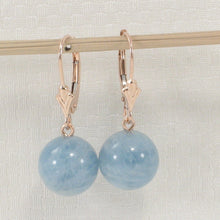 Load image into Gallery viewer, 14k Rose Solid Gold Leverback 10mm Blue aquamarine Bead Dangle Earrings