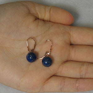 14k Rose Solid Gold Leverback 8mm Blue Lapis Lazuli Bead Dangle Earrings