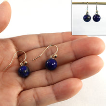 Load image into Gallery viewer, Lapis and 14kt Yellow Gold Ball Earrings