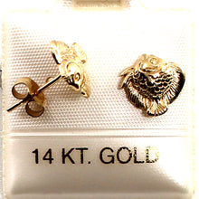 Load image into Gallery viewer, 14kt Yellow Gold Mini Fish Stud Earrings