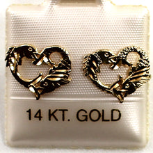 Load image into Gallery viewer, 14kt Yellow Gold Jumping Dolphins Heart Stud Earrings