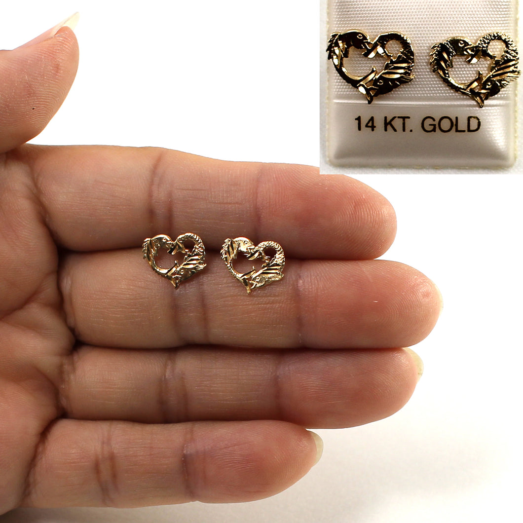 14kt Yellow Gold Jumping Dolphins Heart Stud Earrings