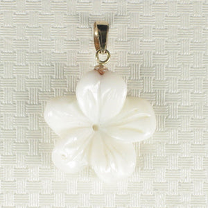14K Gold Mother of Pearl Plumeria Pendant 2000710