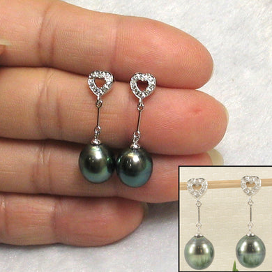 1T98630-14k-Solid-Gold-Genuine-Diamond-Black-Tahitian-Pearl-Dangle-Earrings