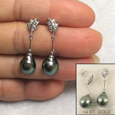 1T99870-14k-White-Gold-Genuine-Diamond-Black-Tahitian-Pearl-Dangle-Earrings