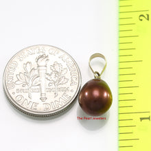 Load image into Gallery viewer, 14k Yellow Gold Bale AAA 8mm Chocolate Cultured Pearl Pendant
