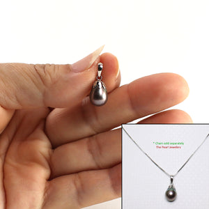 14k Solid White Gold Claw Bail Caps a Black-Blue AAA Cultured Pearl Pendant