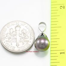 Load image into Gallery viewer, 14k Solid White Gold Claw Bail Caps a Black-Blue AAA Cultured Pearl Pendant