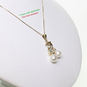 14K Solid Yellow Gold Dolphin Diamond & Two White Freshwater Pearls Pendent
