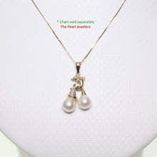 Load image into Gallery viewer, 14K Solid Yellow Gold Dolphin Diamond & Two White Freshwater Pearls Pendent