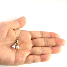 Load image into Gallery viewer, 14K Yellow Gold Dolphin Diamond & Two Lavender & White Pearls Pendent