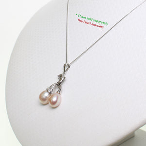 14K Solid White Gold Dolphin Design Diamond & 2 Pink Cultured Pearls Pendent