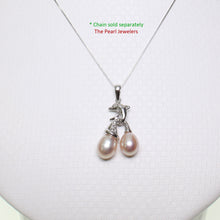 Load image into Gallery viewer, 14K Solid White Gold Dolphin Design Diamond & 2 Pink Cultured Pearls Pendent