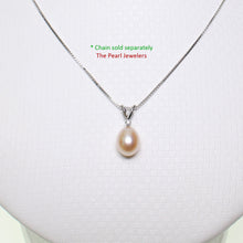 Load image into Gallery viewer, 14k White Gold, Diamond & AAA 7.5-8mm Peach Cultured Pearl Pendant