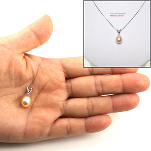 14k White Gold, Diamond & AAA 7.5-8mm Peach Cultured Pearl Pendant