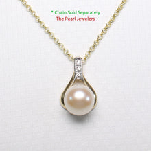 Load image into Gallery viewer, 14k Solid Yellow Gold Racquet Design Diamond & Pink Cultured Pearl Love Pendant