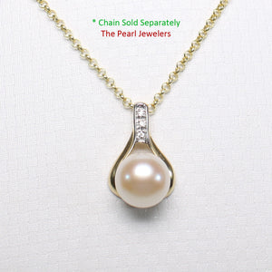 14k Solid Yellow Gold Racquet Design Diamond & Pink Cultured Pearl Love Pendant