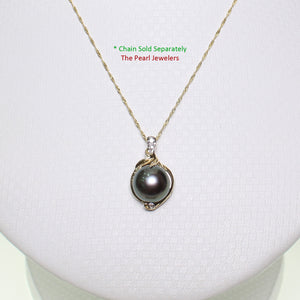 14k Solid Yellow Gold AAA Black Cultured Pearl & Diamonds Pendant