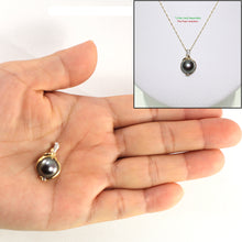 Load image into Gallery viewer, 14k Solid Yellow Gold AAA Black Cultured Pearl & Diamonds Pendant