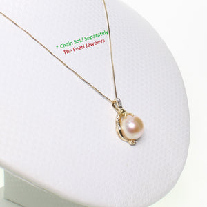 14k Solid Yellow Gold AAA 11mm Pink Cultured Pearl & Diamonds Pendant