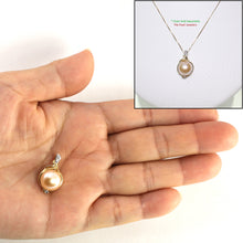 Load image into Gallery viewer, 14k Solid Yellow Gold AAA 11mm Pink Cultured Pearl & Diamonds Pendant