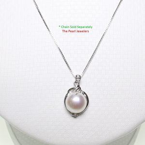 14k Solid White Gold AAA 11mm White Cultured Pearl & Diamonds Pendant