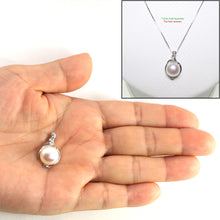 Load image into Gallery viewer, 14k Solid White Gold AAA 11mm White Cultured Pearl & Diamonds Pendant