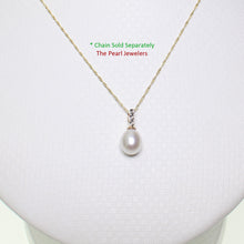 Load image into Gallery viewer, 14k Solid Yellow Gold AAA 7-7.5mm White Cultured Pearl & Diamonds Pendant
