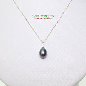 14k Solid Yellow Gold AAA 7-7.5mm Black Cultured Pearl & Diamonds Pendant