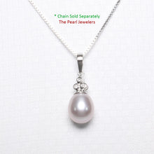 Load image into Gallery viewer, 14k Solid White Gold set 3 Diamonds & AAA Lavender Cultured Pearl Pendant