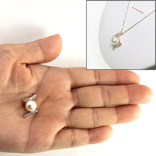 Load image into Gallery viewer, 14k Yellow Gold &12 Diamonds AAA 8.5-9mm Round White Cultured Pearl Pendant