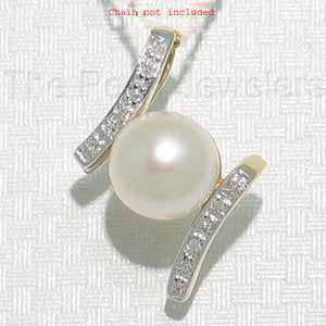 14k Yellow Gold &12 Diamonds AAA 8.5-9mm Round White Cultured Pearl Pendant