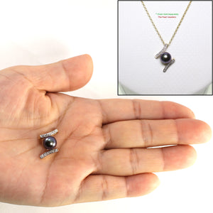 14k Yellow Gold &12 Diamonds AAA 8.5-9mm Round Cultured Black Pearl Pendant
