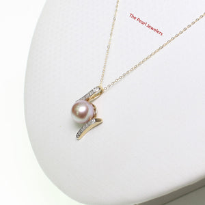 14k Yellow Gold & Diamonds AAA 8.5-9mm Natural Lavender Cultured Pearl Pendant