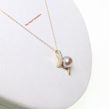 Load image into Gallery viewer, 14k Yellow Gold & Diamonds AAA 8.5-9mm Natural Lavender Cultured Pearl Pendant