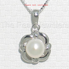 Load image into Gallery viewer, 14k Solid White Gold Wave Square Design Genuine White Cultured Pearl Pendant