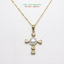 Load image into Gallery viewer, 14k Yellow Gold & Diamond Love Cross Natural White Cultured Pearl Pendant