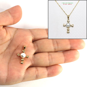 14k Yellow Gold & Diamond Love Cross Natural White Cultured Pearl Pendant
