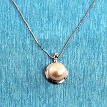 Load image into Gallery viewer, 14k White Gold Encircles Design Genuine 9-9.5mm Pink Cultured Pearl Pendant