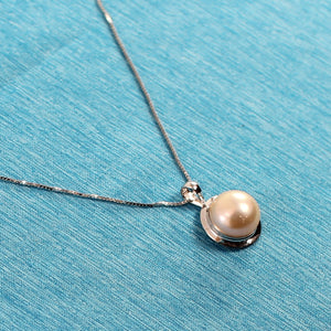 14k White Gold Encircles Design Genuine 9-9.5mm Pink Cultured Pearl Pendant
