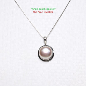 14k White Gold Encircles Design Genuine Lavender Cultured Pearl Pendant
