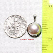 Load image into Gallery viewer, 14k White Gold Encircles Design Genuine Lavender Cultured Pearl Pendant