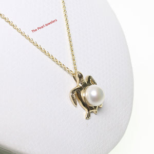 Yellow Gold Sea Turtle Pendant in White Cultured Pearl