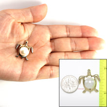 Load image into Gallery viewer, Yellow Gold Sea Turtle Pendant in White Cultured Pearl