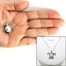 Load image into Gallery viewer, 14K White Gold Sea Turtle (Honu) in White Cultured Pearl Pendant