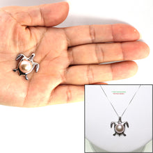 Load image into Gallery viewer, 14k Solid White Gold Hawaiian Honu Sea Turtle Lavender Cultured Pearl Pendant