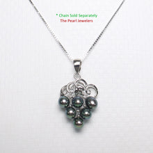 Load image into Gallery viewer, 14k White Gold Grape Design Diamond & Six Peacock Freshwater Pearl Pendant