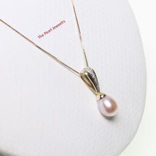 Load image into Gallery viewer, 14k Yellow Gold Sets 7 Diamonds & Pink Cultured Pearl Unique Design Pendant